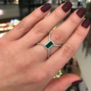 Emerald green silver crystal ring